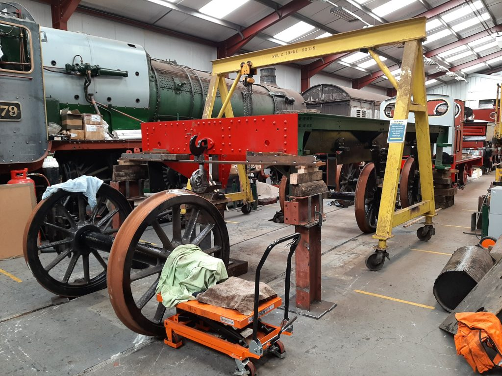 Final set of wheels ready to go under Wootton Hall's tender chassis