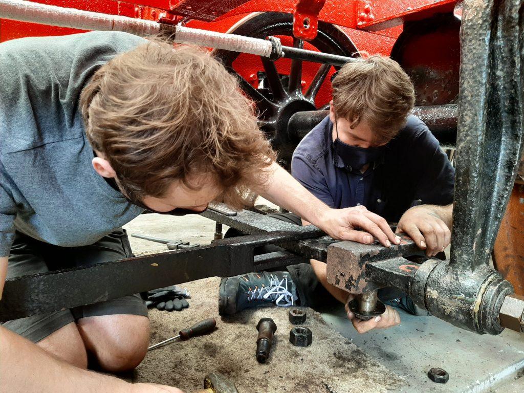 Sam and Jack Davenport (no not THAT Jack Davenport) fitting Wootton Hall's tender brake linkage