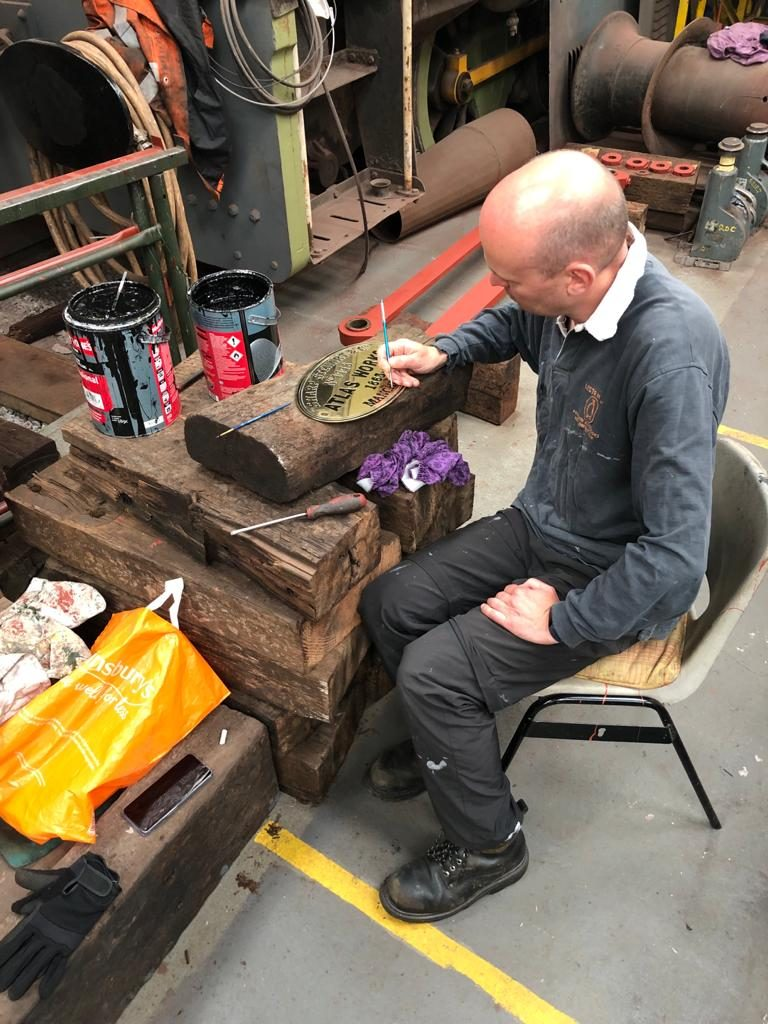 Neil working on the first works plate