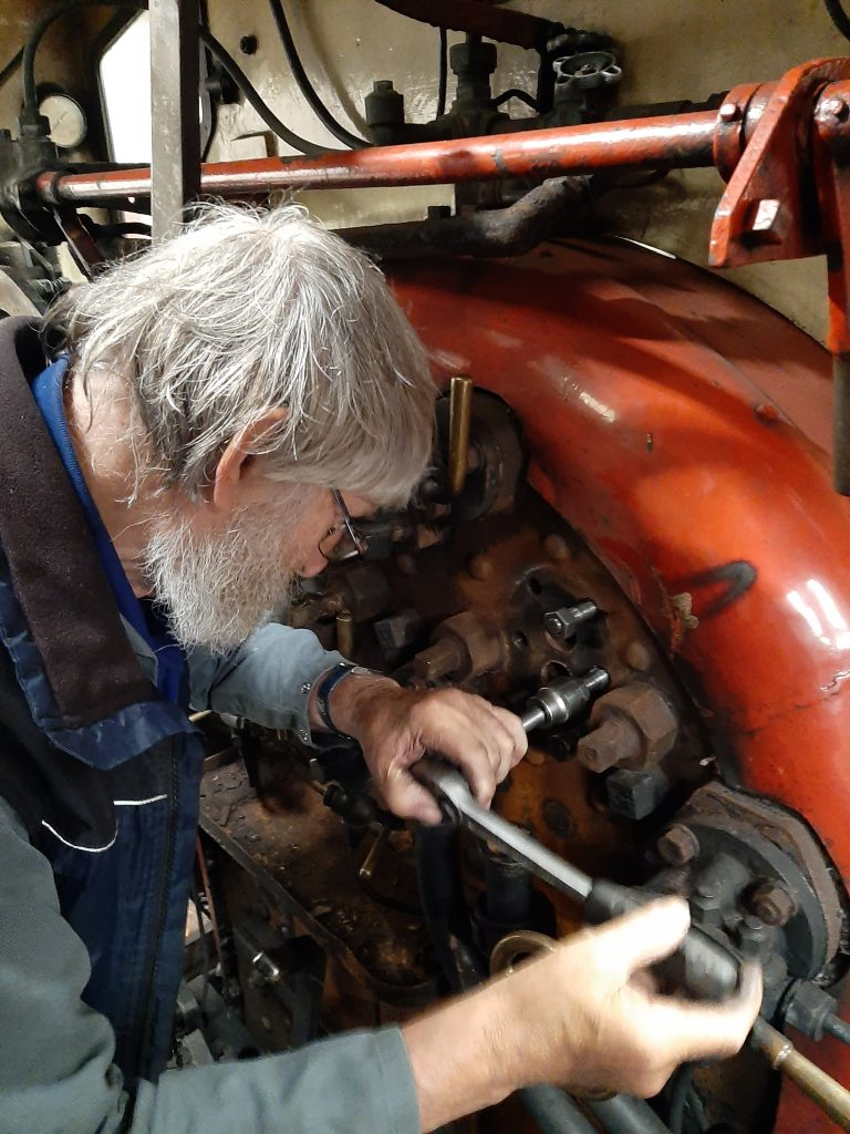 Alan fitting new studs for the clack box
