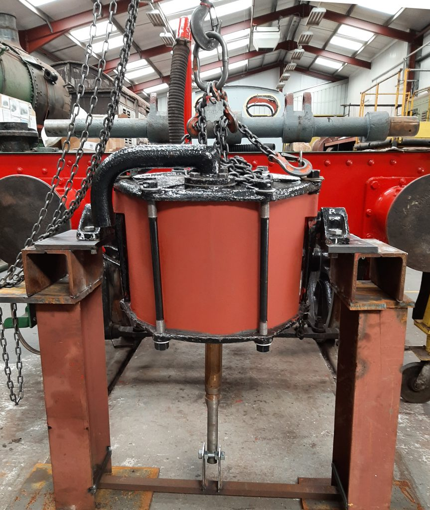 Wootton Hall's vacuum cylinder being set up for a test