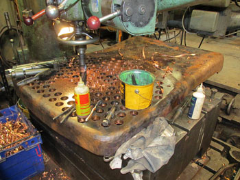 Drilling the new firebox tubeplate