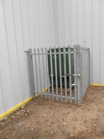 The completed security cage around the heating equipment