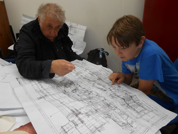 Bob and Matthew poring over the Hall's GA drawing