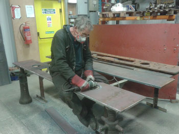 Keith finishing part of the new tender buffer beam for the Hall