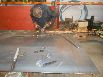 Keith cutting more steel for Wootton Hall