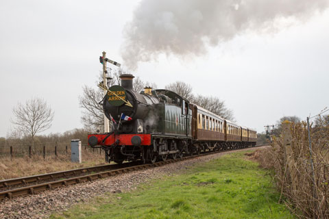 5643 hauls the premier train on the Bluebell Railway