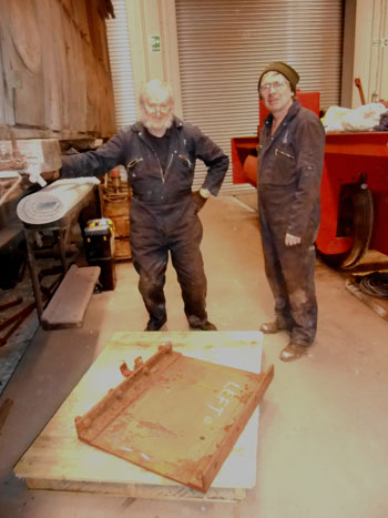Alan and Ade with one of Caliban's rear tank support brackets