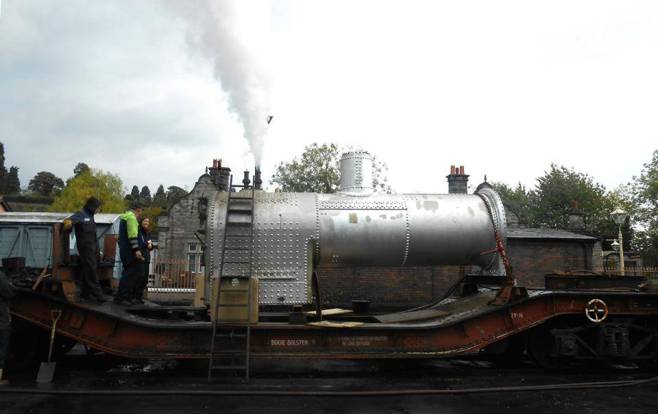 Cumbria's boiler passes its out of frames test.  Complete with new brick chimney.