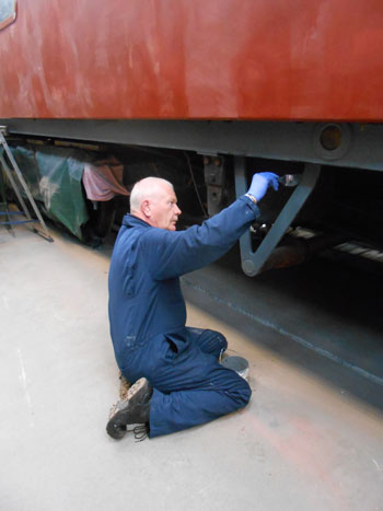 Paul at work painting the RMB underframe