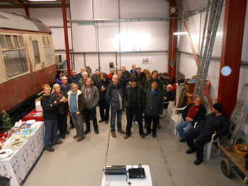 The sponsors and volunteers gathered for the shed warming